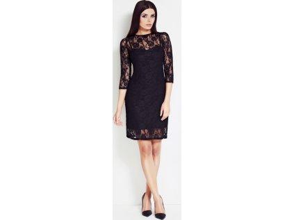 awama pouzdrové krajkové šaty MM-25137 černá