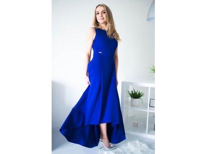 Jersa společenské asymetrické šaty MM-119519 modrá