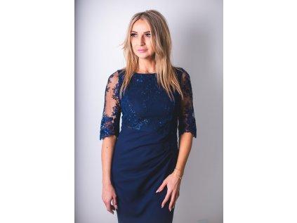 Jersa společenské šaty s krajkou MM-127212 modrá