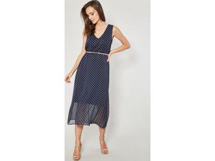 Click Fashion společenské puntíkaté šaty MM-130123 modrá