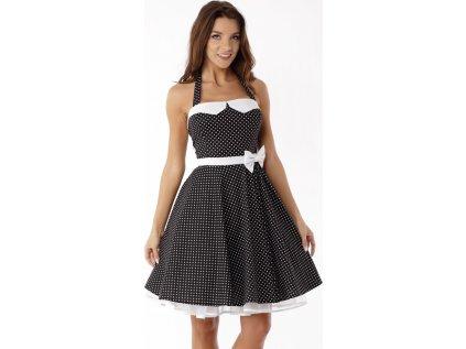 Ella Dora společenské šaty s puntíky a mašlí MM-103041 černá