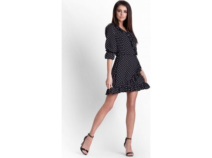 IVON společenské puntíkaté šaty s volánky MM-128392 černá