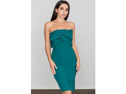 Figl pouzdrové šaty s odhalenými rameny MM-111053 zelená