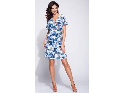 Bien Fashion společenské květované šaty s volánky MM-118785 modrá