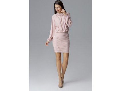 Figl společenské šaty s dlouhými rukávy MM-126005 růžová