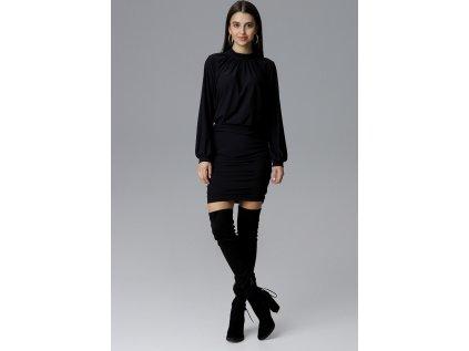 Figl společenské šaty s dlouhými rukávy MM-126009 černá