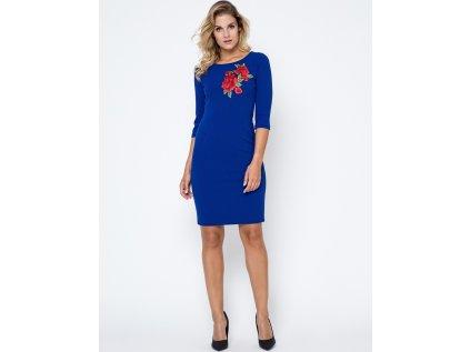 Bass společenské šaty s květy MM-102748 modrá
