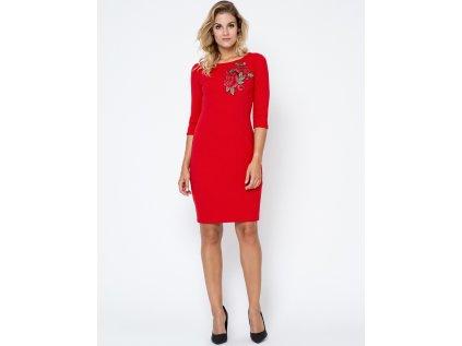 Bass pouzdrové šaty s květy MM-102749 červená
