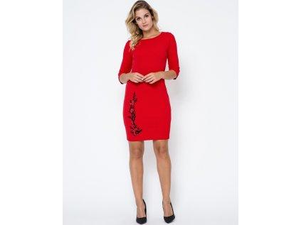 Bass společenské šaty MM-102751 červená