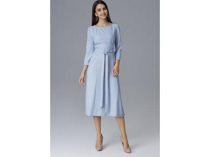 Figl pouzdrové šaty s rozparkem a volánky MM-126022 modrá