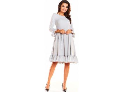 awama nabírané společenské šaty s volány MM-130211 šedá