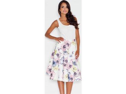 Figl společenská květovaná sukně MM-43761 bílá
