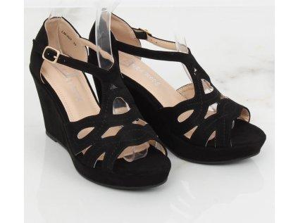 Inello sandály na klínku MM-130039 černá