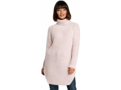 BE Knit dlouhý svetr MM-121216 růžová