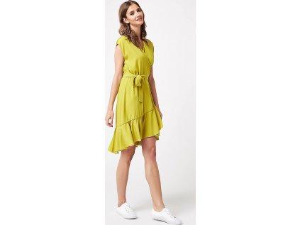 Lumide společenské šaty s volány MM-132184 zelená