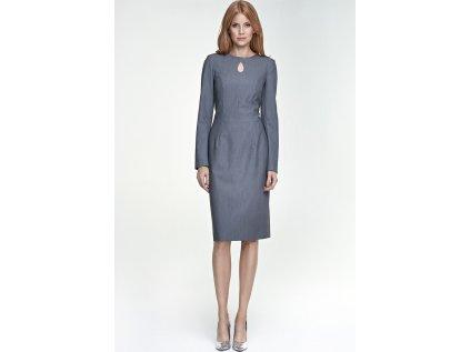 Nife společenské pouzdrové šaty MM-66314 šedá