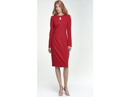 Nife společenské pouzdrové šaty MM-66317 červená