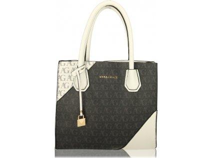 Anna Grace Luxusní kabelka AG00740_BLACK/WHITE