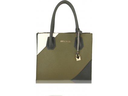 Anna Grace Luxusní kabelka AG00742_OLIVE/BLACK