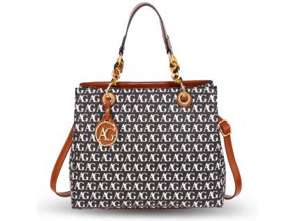 Anna Grace Luxusní kabelka AG00536_BLACK/WHITE