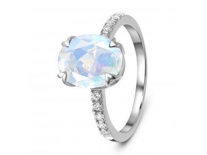 Emporial stříbrný Měsíční prsten s drahokamy bílými topazy