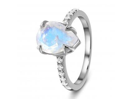 Emporial stříbrný Měsíční prsten Kapka s drahokamy bílými topazy