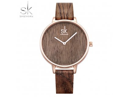 SK Shengke hodinky Casual Darkwood K0078_L03_DARKBROWN