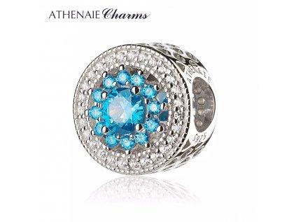Athenaie přívěsek Modrá Zářivá květina se srdíčky PAV37
