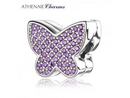 Athenaie přívěsek Klip Krásný fialový motýl PAV35