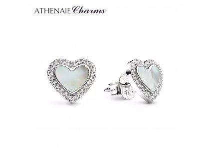 Athenaie náušnice Perleťové srdce SER01