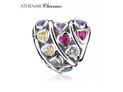 Athenaie přívěsek Půvabné barevné srdce PAV109