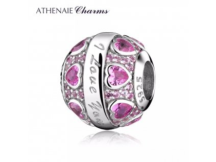 Athenaie přívěsek Růžové miluji tě PAV119