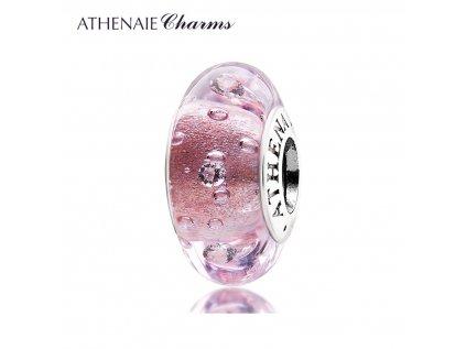 Athenaie přívěsek se zirkony Růžové šumivé sklo Murano MNG103