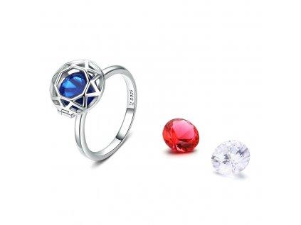 Royal Fashion prsten Barevné křišťály 3v1 SCR492