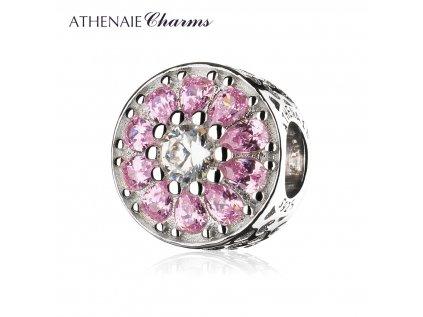 Athenaie přívěsek Růžová křišťálová květina se srdíčky PAV87