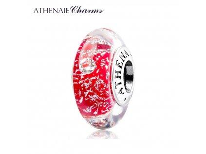 Athenaie přívěsek se zirkony Červené jiskřivé sklo Murano MNG162