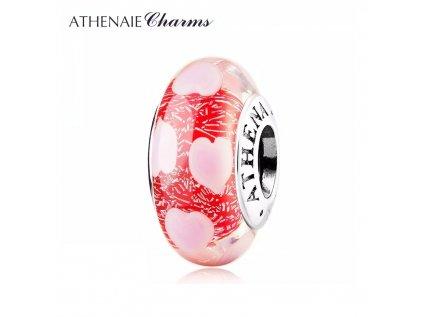 Athenaie přívěsek Růžové srdce jiskřivé sklo Murano MNG179