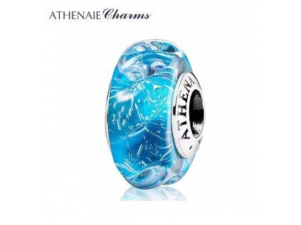 Athenaie přívěsek Modré vlny oceánu jiskřivé sklo Murano MNG186