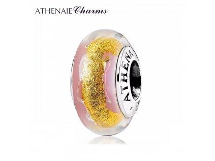 Athenaie přívěsek Růžovo-zlaté sklo Murano MNG196