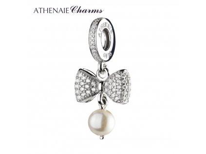 Athenaie přívěsek Půvabná mašle s perlou SPD39