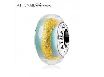 Athenaie přívěsek Zeleno-zlaté sklo Murano MNG197
