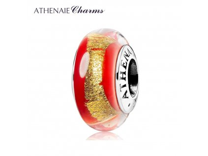 Athenaie přívěsek Červeno-zlaté sklo Murano MNG198