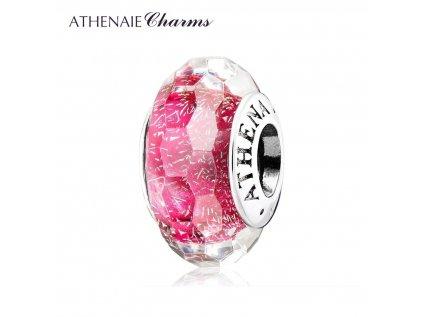 Athenaie přívěsek Růžové jiskřivé broušené sklo Murano MNG177