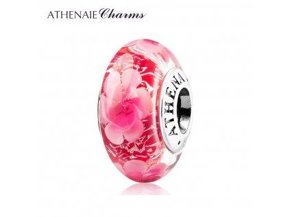 Athenaie přívěsek Půvabné květy jiskřivé sklo Murano MNG168