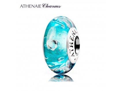 Athenaie přívěsek se zirkony Průzračné moře šumivé sklo Murano MNG126