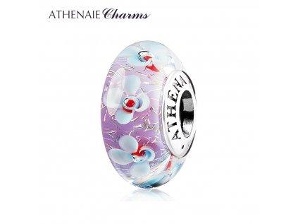 Athenaie přívěsek Fialové pole květin jiskřivé sklo Murano MNG156