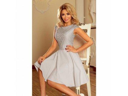 c922f0bbc40d Numoco dámské krajkové šaty koktejlové šedé 157 6