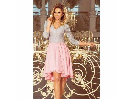 fcf6667cceee Numoco dámské krajkové šaty šedé a růžové 210 5