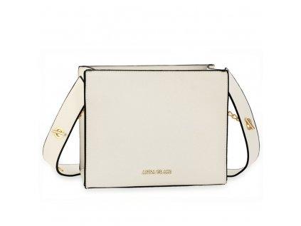 Luxusní bílá hranatá kabelka Anna Grace se širokým popruhem
