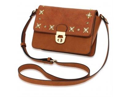 Elegantní crossbody hnědá kabelka se zlatou aplikací Anna Grace